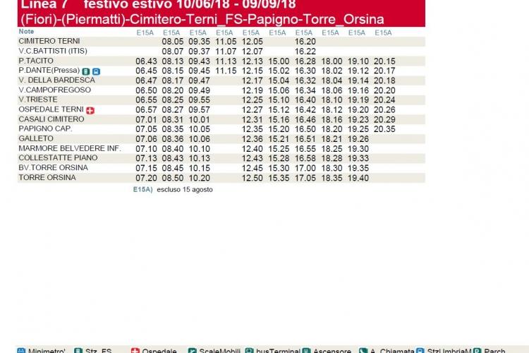Tabelle orari autobus per Cascata delle Marmore
